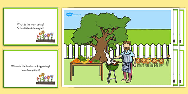 Barbecue Scene and Question Cards Romanian Translation - romanian, barbeque, questions, comprehension pack