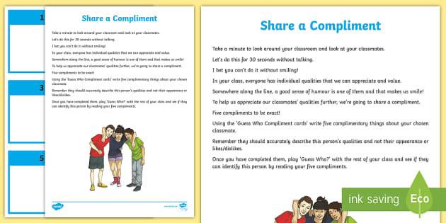Share a Compliment Activity Sheet - PDMU,Razzle Dazzle,Celebrating Myself,Year 7, worksheet.