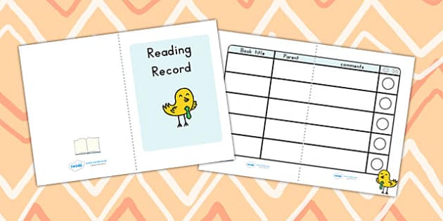 Reading Record Booklet - reading, reading record, booklet, books
