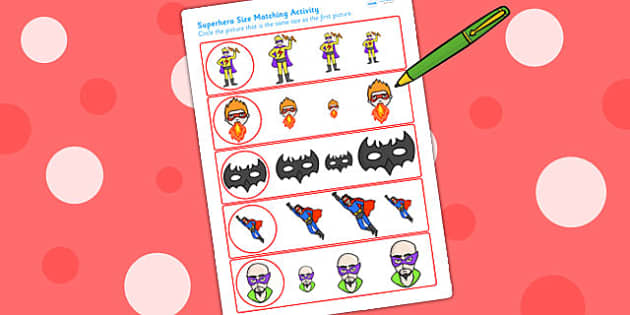 Superhero Themed Size Matching Worksheet - superheroes, size