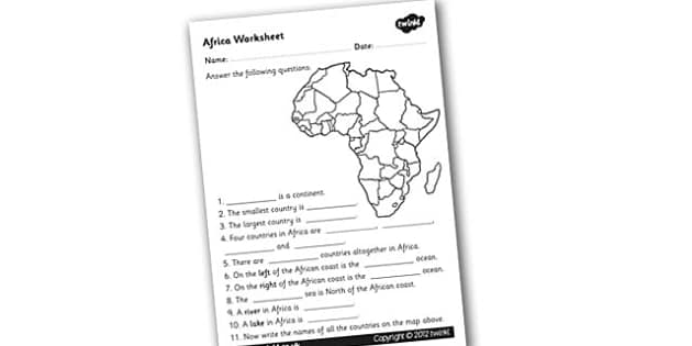 Africa Worksheet - africa, africa worksheet, africa questions, facts about africa, the african continent, coutries in africa, ks2 geography, places