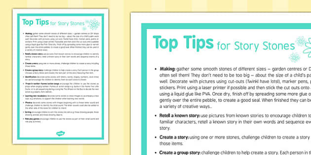 Top Tips for Story Stones - top ten tips, story stones, story, stones