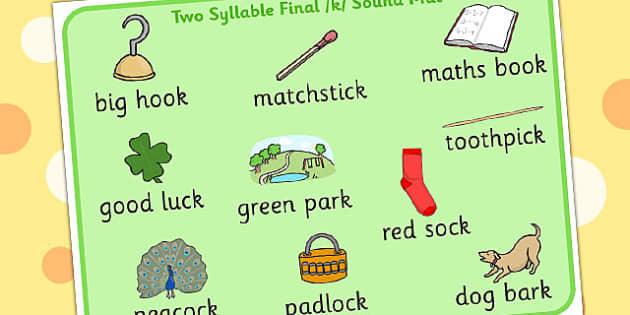 Two Syllable Final K Sound Word Mat - final k, sound, word mat