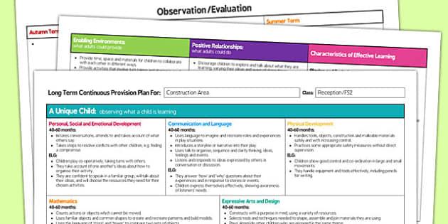 Construction Area Editable Continuous Provision Plan Reception FS2