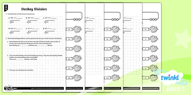 PlanIt Y4 Multiplication and Division Donkey Division Differentiated Home Learning - Y4 Multiplication and Division Planit Maths, multiply, groups of, lots of, product, times, sets of,