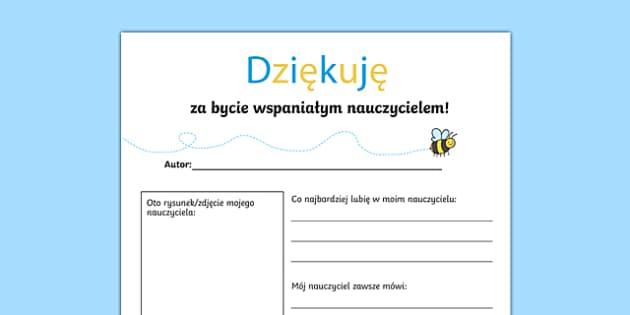 Szablon List podziękowanie dla nauczyciela po polsku