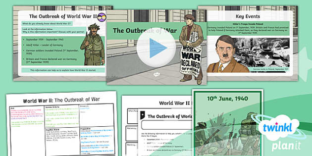 PlanIt - History LKS2 - World War II Lesson 1: The Outbreak of War Lesson Pack - word war 2, history, war