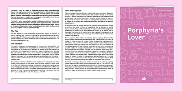 GCSE Poetry Porphyria's Lover Notes for Study