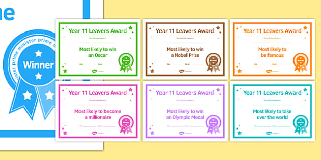 Year 11 Leavers Award Certificates Most Likely To - year 11, leavers award, certificates, leaver, award, transition, ks4