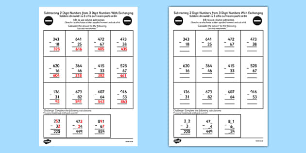 Subtracting 2 Digit Numbers from 3 Digit Numbers in a Column with Exchanging Worksheet Year 3 Romanian Translation - romanian,