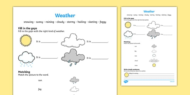 Weather Activity Sheet, worksheet