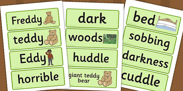 I've Lost My Teddy, Where Is It? Word Cards - Where's My Teddy, teddy, woods, forest, lost, bear, word card, flashcards, cards, reading, story, book