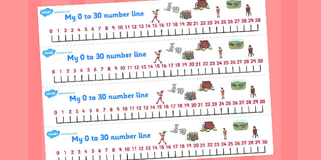 The Pied Piper Number Lines 0-30 - number lines, pied piper