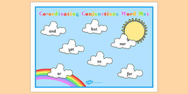 Cloud Themed Coordinating Conjunctions Word Mat - connectives