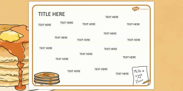 Pancake Day Themed Editable Word Mat - literacy, writing, words