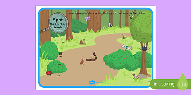 Phase 3 Short oo Words Minibeasts Scene Magnifying Glass Activity Sheet, worksheet