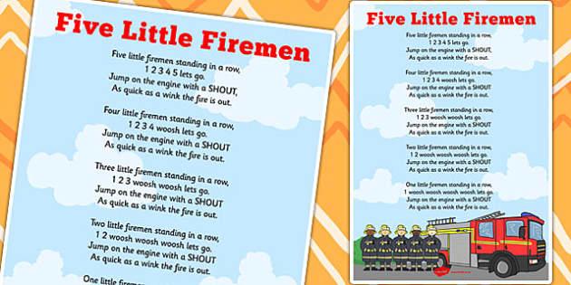 Five Little Firemen Counting Song Sheet - song, sheet, firemen