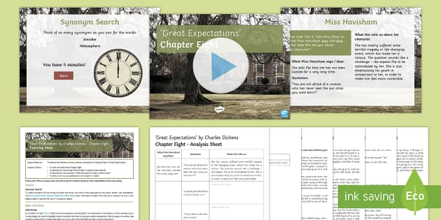 Great Expectations Chapter Eight Lesson Pack - Miss Havisham, Great Expectations, Satis House, Pip, Estella.