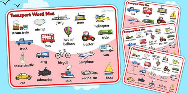 Transport Word Mat - Transport words, word mat, Foundation stage, , car, van, lorry, bike, motorbike, plane, aeroplane, tractor, truck, bus