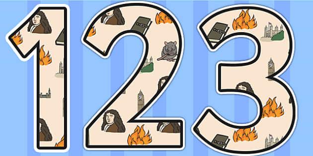 Samuel Pepys Themed Display Numbers - Samuel Pepys, display numbers, themed number, classroom number, numbers for display, numbers, numbers for display