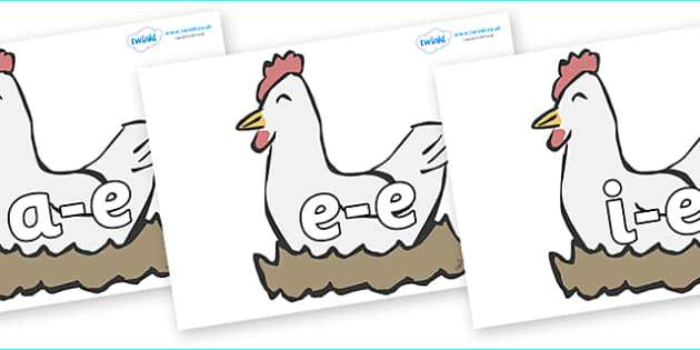 Modifying E Letters on Hens - Modifying E, letters, modify, Phase 5, Phase five, alternative spellings for phonemes, DfES letters and Sounds