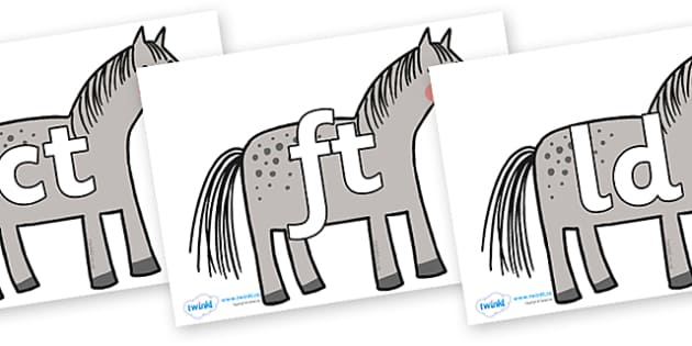 Final Letter Blends on Horse to Support Teaching on What the Ladybird Heard - Final Letters, final letter, letter blend, letter blends, consonant, consonants, digraph, trigraph, literacy, alphabet, letters, foundation stage literacy