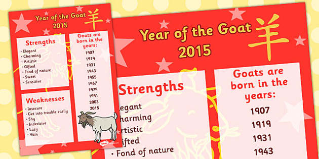 Chinese New Year Year of the Goat Display Poster - chinese, goat