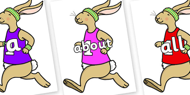 100 High Frequency Words on Running Hare - High frequency words, hfw, DfES Letters and Sounds, Letters and Sounds, display words
