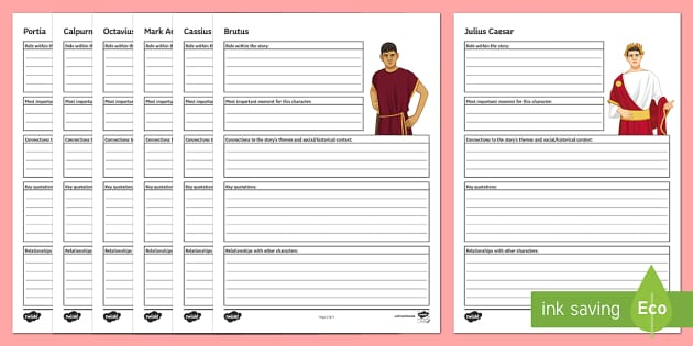 Julius Caesar Character Profile Activity Sheets - Julius Caesar, characters, Brutus, Cassius, Mark Antony.