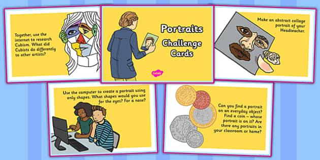 Portraits Challenge Cards - portraits, challenge, cards, art