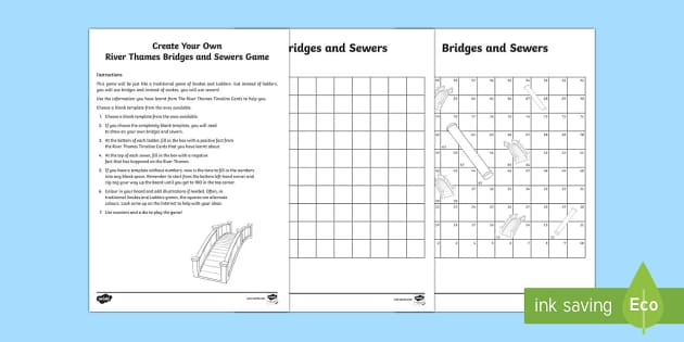 Create Your Own River Thames Bridges and Sewers Board Game - snakes and ladders, bridges, sewers, River Thames, thames, rivers, board game, Windsor, topic, geogr