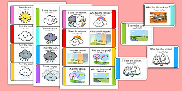 Weather Loop Cards Arabic Translation - arabic, weather, loop cards, activity, game