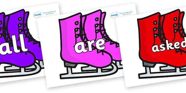 Tricky Words on Ice Skates - Tricky words, DfES Letters and Sounds, Letters and sounds, display, words