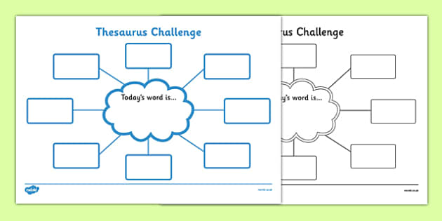 Thesaurus Challenge Worksheets - Thesaurus Challenge, Thesaurus, challenge, worksheet, work sheet, sheets, today's word, today, words, activity