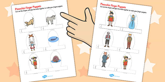 Pinocchio Finger Puppets - finger puppets, pinocchio, puppets