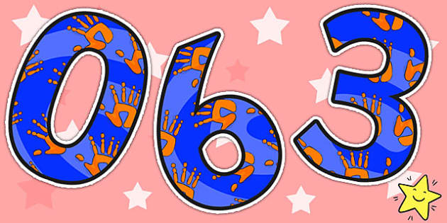 Orange and Blue Handprint Themed A4 Display Numbers - numbers