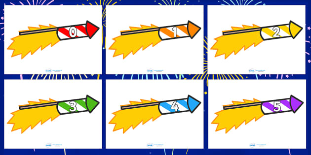 Numbers 0-30 on Firework Rockets - Firework, rocket, bonfire, Foundation Numeracy, Number recognition, Number flashcards, 0-30, Guy, Autumn, A4, display, bang, crackle, woosh, sparkler, catherine wheel, screech, whirl, fire, bonfire, leaves, gloves