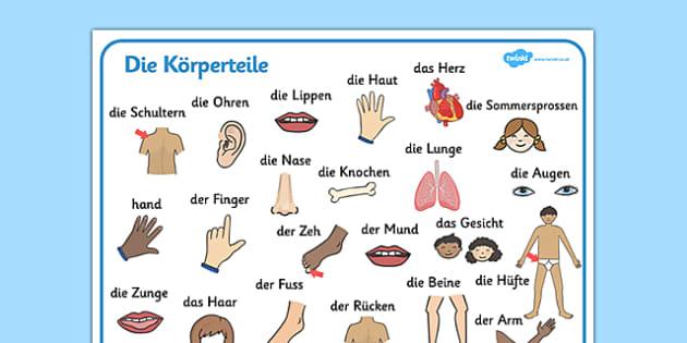 Die Körperteile Word Mat German - german, my body, word mat, word, mat, bodies