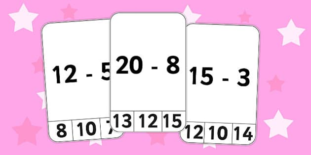 Subtraction From 20 Peg Activity - subtraction, 20, peg, activity