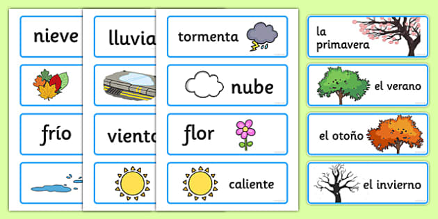 Spanish Seasons Word Cards - season, words, literacy, visual aid