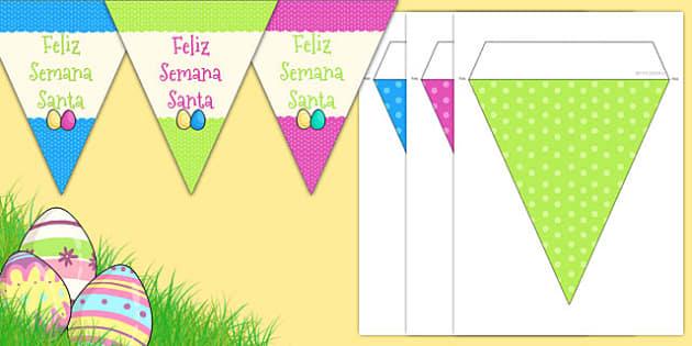 Banderitas de Feliz Semana Santa - decoración, pascua