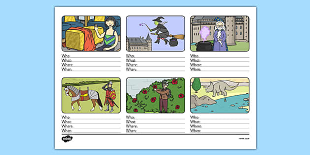 Who, What, Where, When Sentence Building Activity Sheet - sentence building, activity, sentence, build, who, what, where, when, worksheet