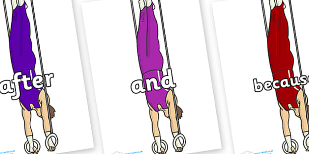 Connectives on Gymnasts (Hoops) - Connectives, VCOP, connective resources, connectives display words, connective displays