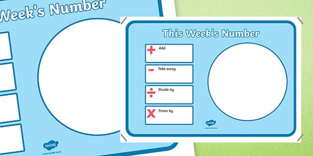 This Week's Number Display Poster - week, number, display poster, display, poster, maths