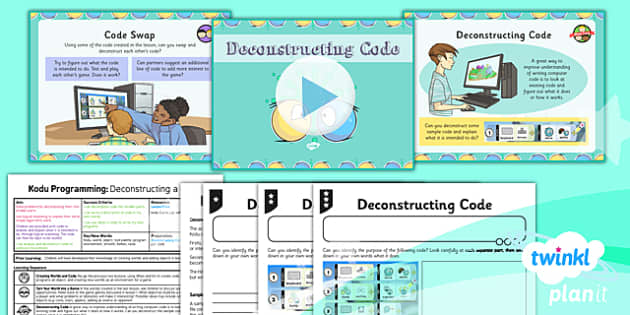 PlanIt Computing Year 6 Kodu Programming Lesson 4 Deconstructing Code Lesson Pack - ks2, uks2, key stage, junior, computers, it, itc, ict, programme, program, software, skills, resources, display, presentation, planning, notes, idea, information, fou