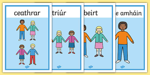 Counting People Posters 1-10 Gaeilge - roi, irish, gaeilge, counting, people, posters, 1-10