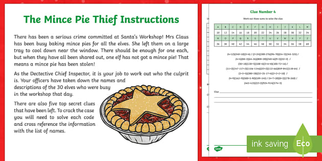 KS2 The Mince Pie Thief Problem Solving Game - Christmas, Nativity, Jesus, xmas, Xmas, Father Christmas, Santa, St Nic, Saint Nicholas, traditions, mince pie
