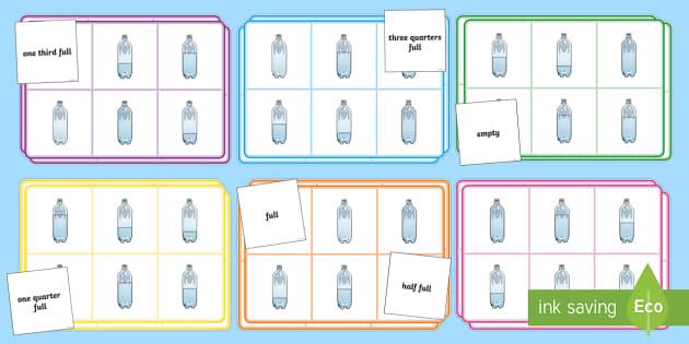 Capacity Bingo - capacity bingo, capacity, capacities, empty, full, nearly full, half full, nearly empty, measurement, game, activity, fun, bingo