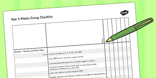 2014 Curriculum Year 4 Maths Assessment Group Checklist - numeracy