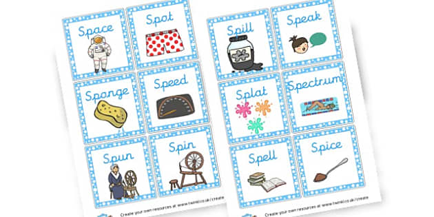 Initial Sp Words Cards - Phase 4 Visual Aids Primary Resources, Phase One, Letters, sounds
